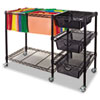 Mobile File Cart w/Drawers, 38w x 15 1/2d x 28h, Black