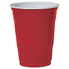 Plastic Party Cold Cups, 16oz, Red, 50/Pack P16RPK