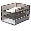 Desk Tray, Three Tiers, Steel Mesh, Letter, Black