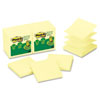 Recycled Pop-up Notes, 3 x 3, Canary Yellow, 100-Sheet, 12/Pack