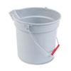 10 Quart Plastic Utility Pail, 10 1/2 Diameter X 10 1/4h, Gray Plastic