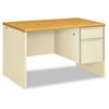 38000 Series Right Pedestal Desk, 48w x 30d x 29-1/2h, Harvest/Putty