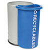Round waste receptacle with attached recycling container.
