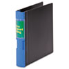Recycled reference binder with living hinge and one-touch trigger is 100% recyclable.