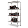 Industrial Heavy-Duty Wire Shelving Starter Kit, 4-Shelf, 36w X 18d X 72h,silver