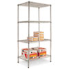 Four-shelf industrial strong steel, wire shelving unit.