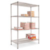 Industrial Heavy-Duty Wire Shelving Starter Kit, 4-Shelf, 48w X 24d X 72h,silver