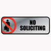 Brushed Metal Office Sign, No Soliciting, 9 X 3, Silver/red