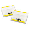 File Tabs, 2 x 1 1/2, Lined, Yellow, 50/Pack