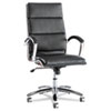 ALERA NERATOLI HIGH-BACK SLIM PROFILE CHAIR, SUPPORTS UP TO 275 LBS, BLACK SEAT/BLACK BACK, CHROME BASE