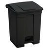 Large Capacity Plastic Step-On Receptacle, 23gal, Black