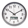 Round Wall Clock with LCD Inset, 14in, Gray