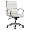 ALERA NERATOLI MID-BACK SLIM PROFILE CHAIR, WHITE FAUX LEATHER, CHROME FRAME