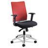 Tez Series Manager Synchro-Tilt Task Chair, Red Mesh Back, Black Fabric Seat