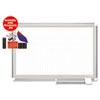 Porcelain Dry Erase Planning Board w/Accessories, 1x2 Grid, 72x48, Silver