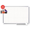 "Grid Planning Board w/ Accessories, 1x2"" Grid, 48x36, White/Silver"