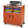 Mobile laminate machine stand with eight sorter compartments has six removable shelves and four casters.