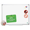 Dry erase board made from recycled material is 98% recyclable.