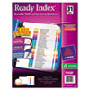 Ready Index Customizable Table of Contents Multicolor Dividers, 31-Tab, Letter