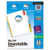 Insertable Big Tab Dividers, 5-Tab, Letter