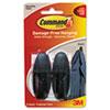 Designer Hooks, Plastic, Black, 2 Hooks & 4 Strips/pack