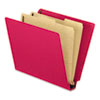Pressboard End Tab Classification Folders, Letter, 2 Dividers, Red, 10/Box