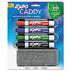 Caddy affixes to whiteboard to hold markers and eraser.