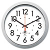 Quartz Flat Rim Clock, 13-1/4in, Silver
