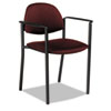 Comet Series Stacking Arm Chair, Burgundy Polypropylene Fabric, 3/Carton
