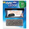 Mountable ledge for dry erase boards includes one foam eraser.
