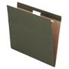 Standard green hanging file folders with crimped steel hanging rods and lighter interior.