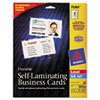 Avery® Self-Laminating Cards, White, 2 1/4 x 3 1/2, 4/Sheet, 20/Pack AVE75361