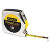Powerlock Tape Rule, 1/4 X 10ft, Plastic Case, Chrome, 1/16 Graduation