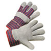 Leather Palm Work Gloves, Gray/blue/white, Large, 12 Pairs