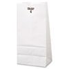 #4 Paper Grocery Bag, 30lb White, Standard 5 X 3 1/3 X 9 3/4, 500 Bags