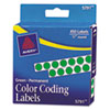 "Permanent Self-Adhesive Round Color-Coding Labels, 1/4"" Dia, Green, 450/pack"