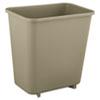 Deskside Plastic Wastebasket, Rectangular, 2 Gal, Beige