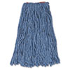 "Cotton/synthetic Cut-End Blend Mop Head, 16oz, 1"" Band, Blue, 12/carton"