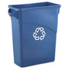 Slim Jim Recycling W/handles, Rectangular, Plastic, 15.875gal, Blue