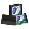"""Clean Touch Locking Round Ring View Binder, Antimicrobial, 3"""" Cap, Black"""