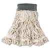 "Web Foot Wet Mop, Cotton/synthetic, White, Medium, 5"" Green Headband, 6/carton"