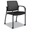 Mobile multipurpose stacking chair with mesh back and fabric-upholstered seat.