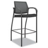 Café-height stool with mesh back and fabric-upholstered seat.