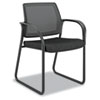 Guest arm chair with mesh back, fabric-upholstered seat and sled base.