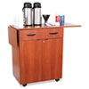 "Safco® Hospitality Service Cart. Serving area expands to 56"" wide with drop leaves extended. Large storage drawer."