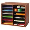 Fiberboard Literature Sorter, 12 Sections, 19 5/8 X 11 7/8 X 16 1/8, Cherry