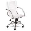 Flaunt Series Mid-Back Manager's Chair, White Leather/Chrome