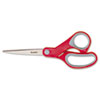 Multi-Purpose Scissors, Pointed, 8 Length, 3 3/8 Cut, Red/gray