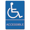 ADA Sign Wheelchair Accessible, Tactile Symbol/Braille, Plastic, 6x9, Blue/White