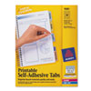 Printable Plastic Tabs With Repositionable Adhesive, 1 1/4, Assorted, 96/pack